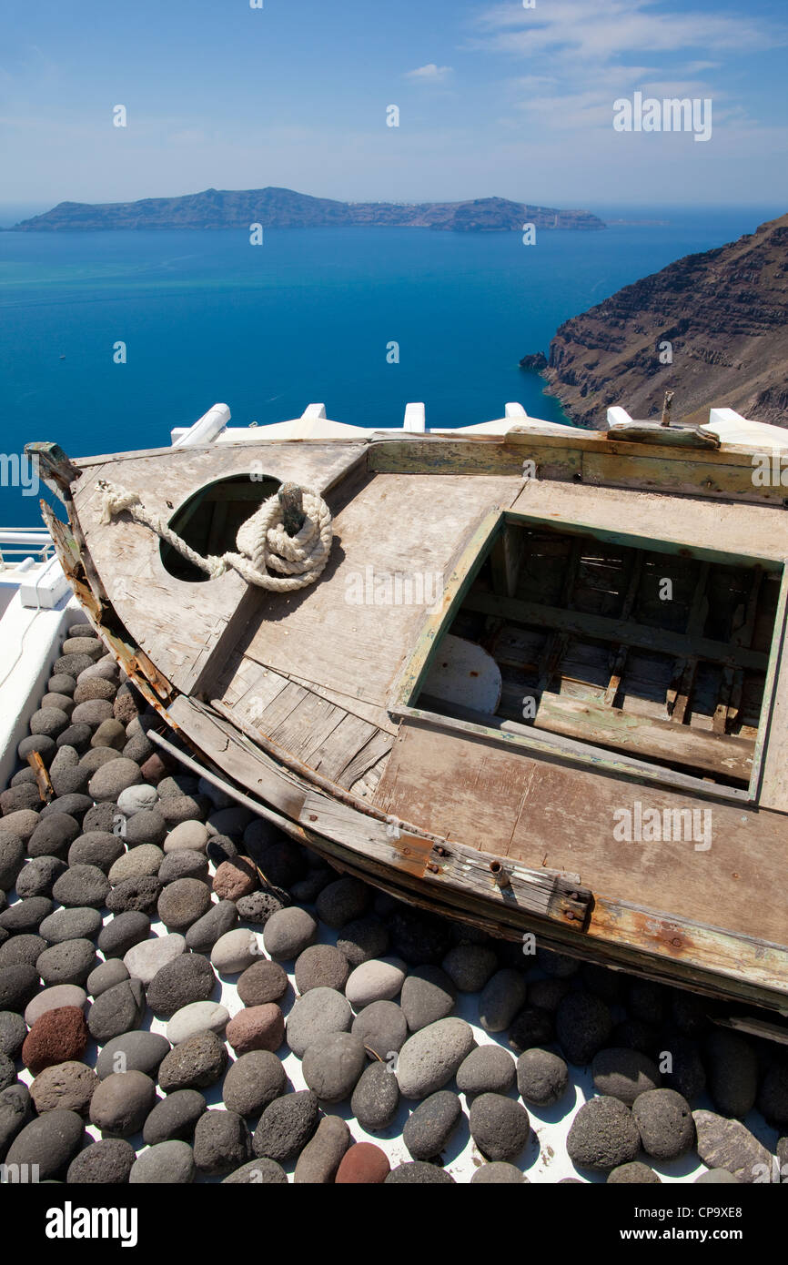 View looking out onto the Aegean Sea, Firostephani, Fira, Santorini, Cyclades, Greece - Stock Image