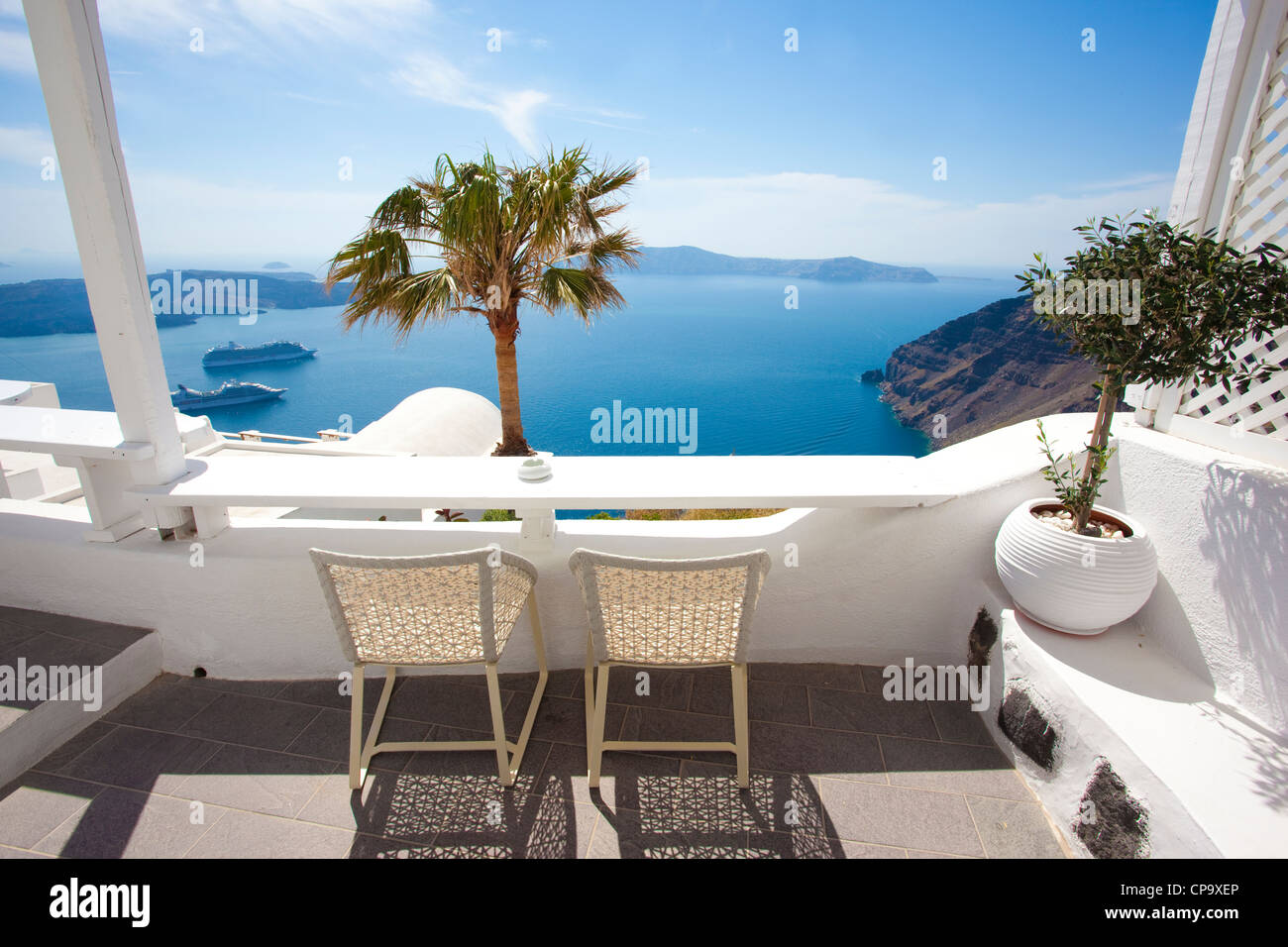 View from Millhouses studios looking out onto the Aegean Sea, Firostephani, Santorini, Cyclades, Greece Stock Photo