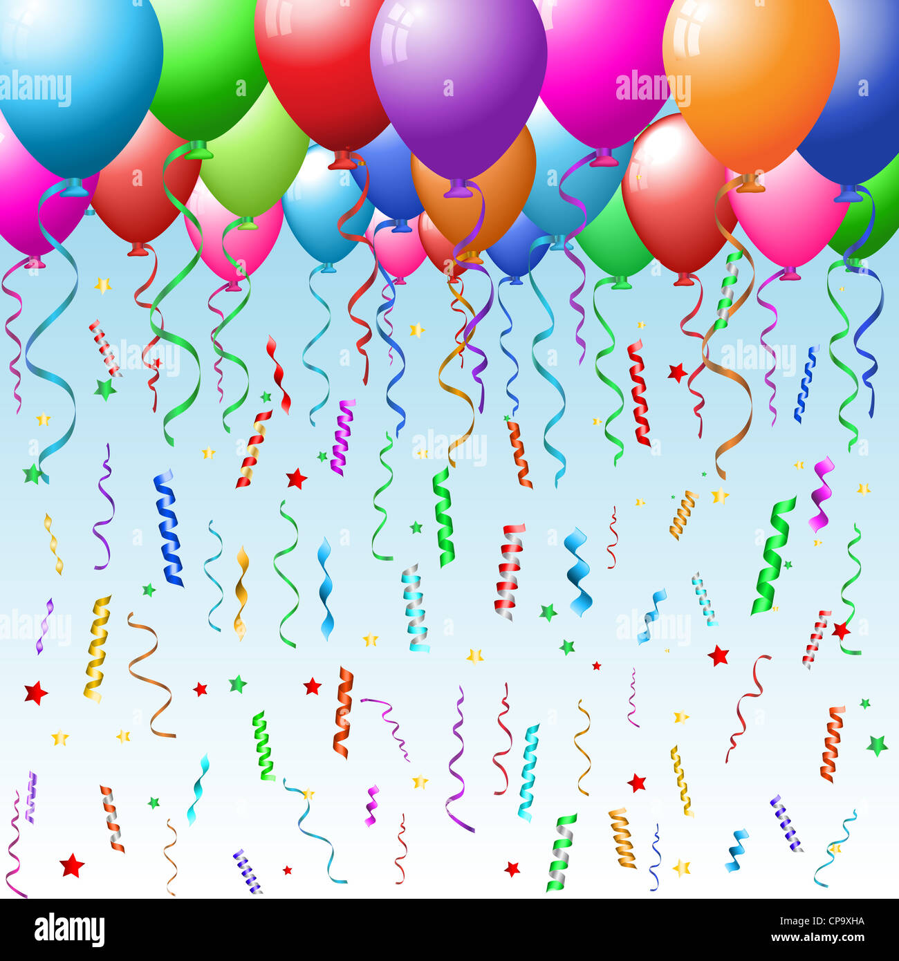 party background with balloons confetti and streamers stock photo