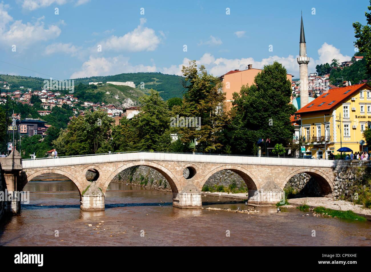 Latin Bridge on Miljacka River, place where was killed the Archduke Franz Ferdinand. Sarajevo. Bosnia- Herzegovina. - Stock Image