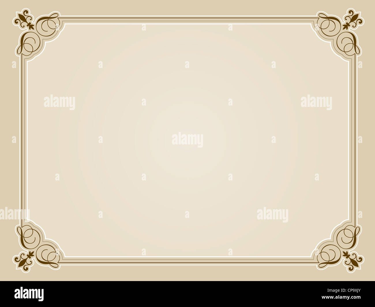 Decorative blank certificate design in sepia tones - Stock Image