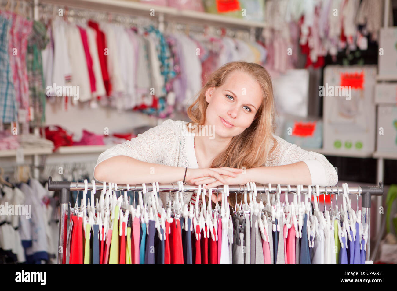woman shop assistant or retail seller. - Stock Image