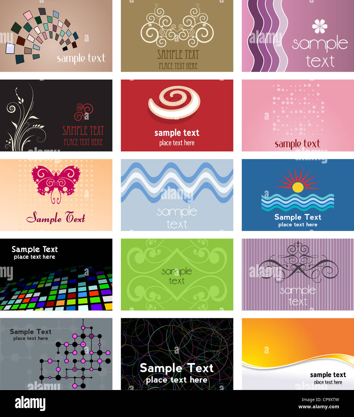 Large collection of various different business card designs Stock ...
