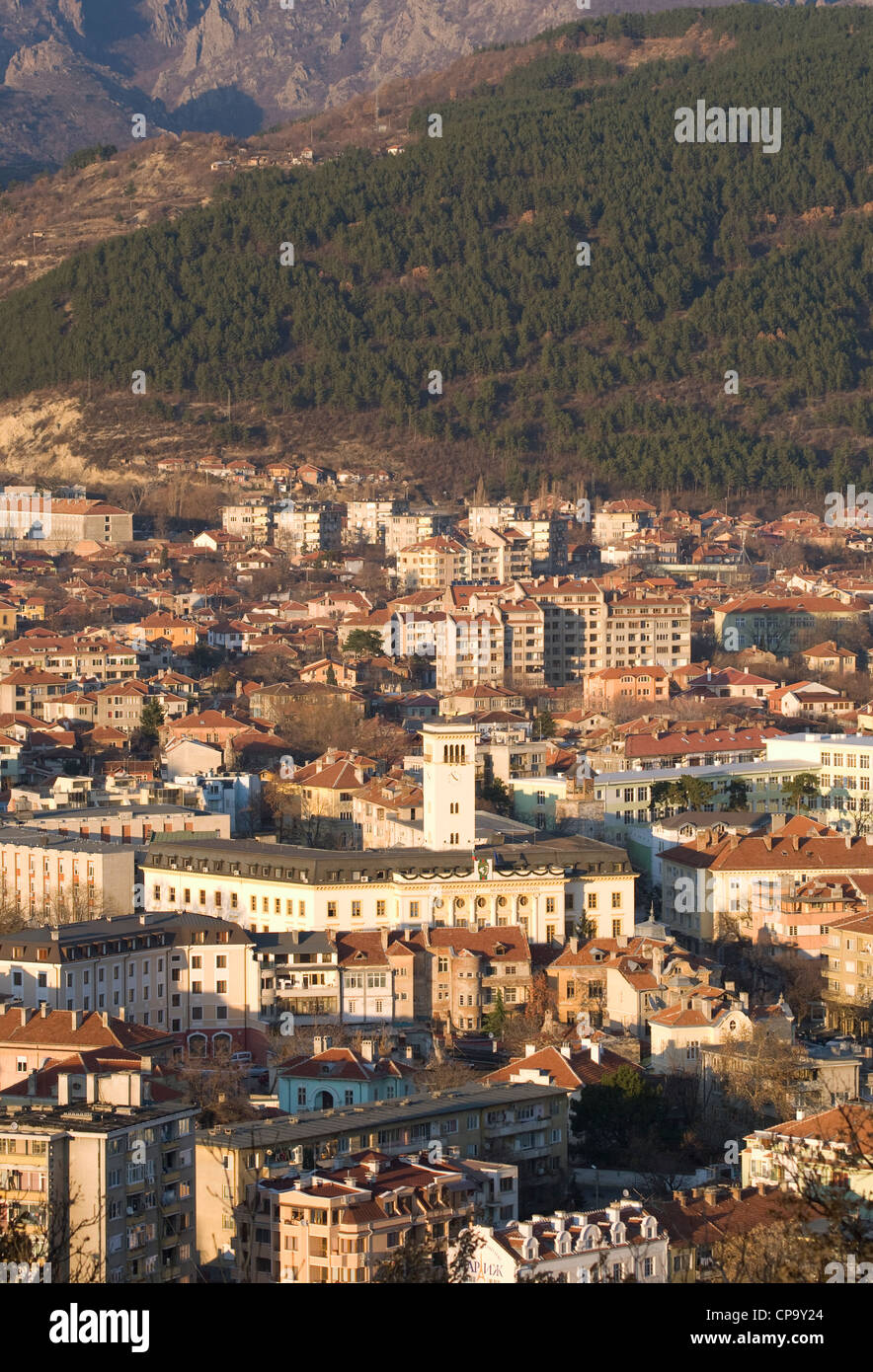 Aerial view of Sliven municipality, Bulgaria at Summertime. - Stock Image