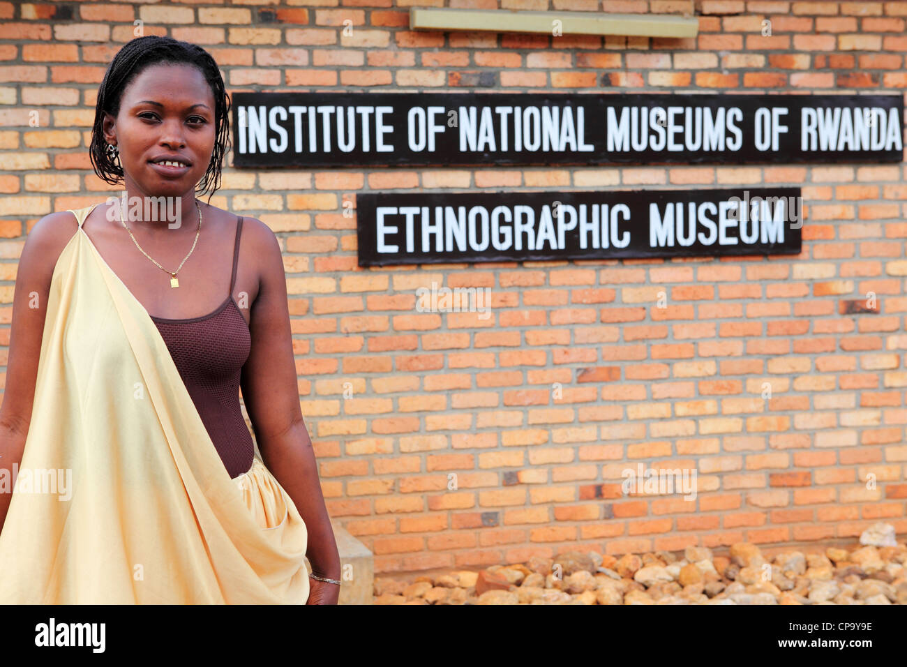 Female receptionist at the Ethnographic Museum in Huye, Rwanda. - Stock Image