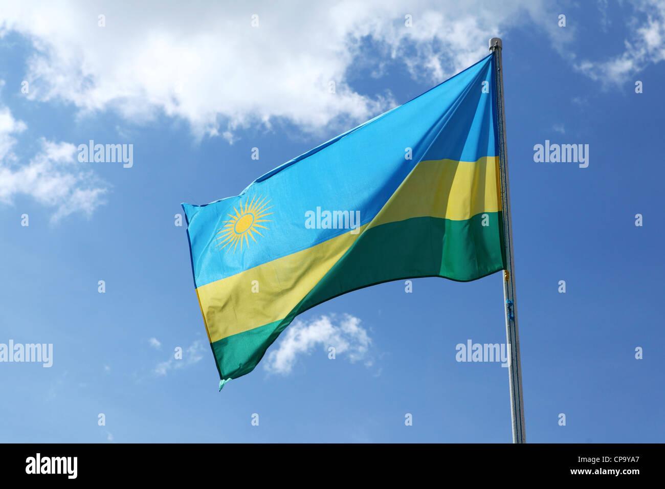 The national flag of Rwanda. - Stock Image