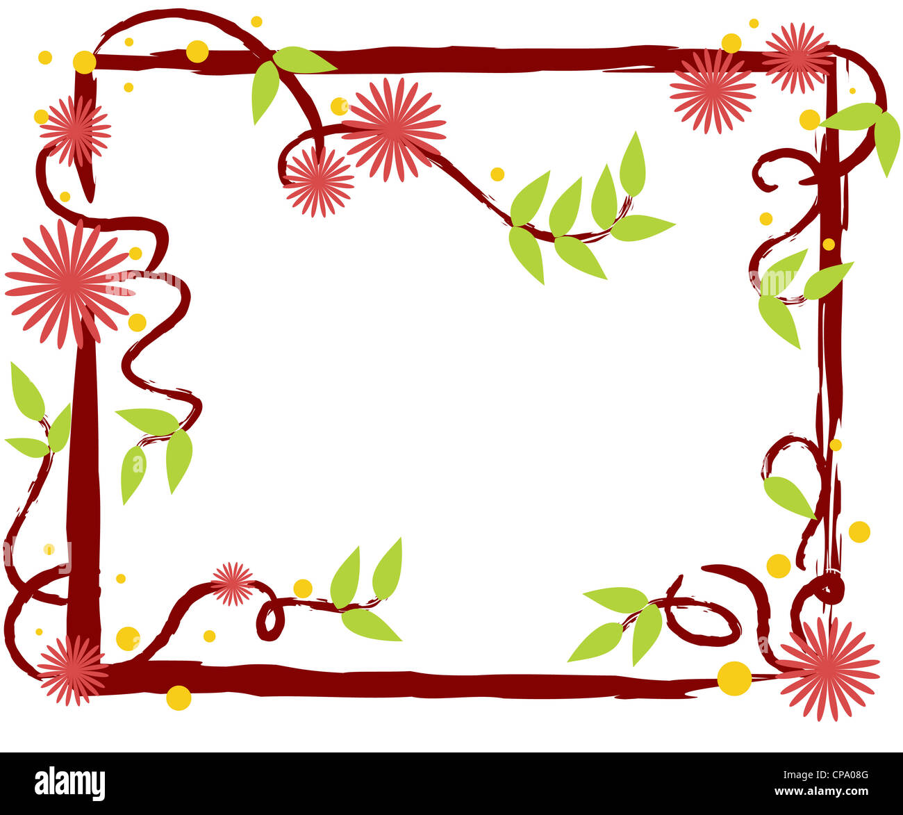 Pink flowers with green leaves nature frame with copy space Stock Photo