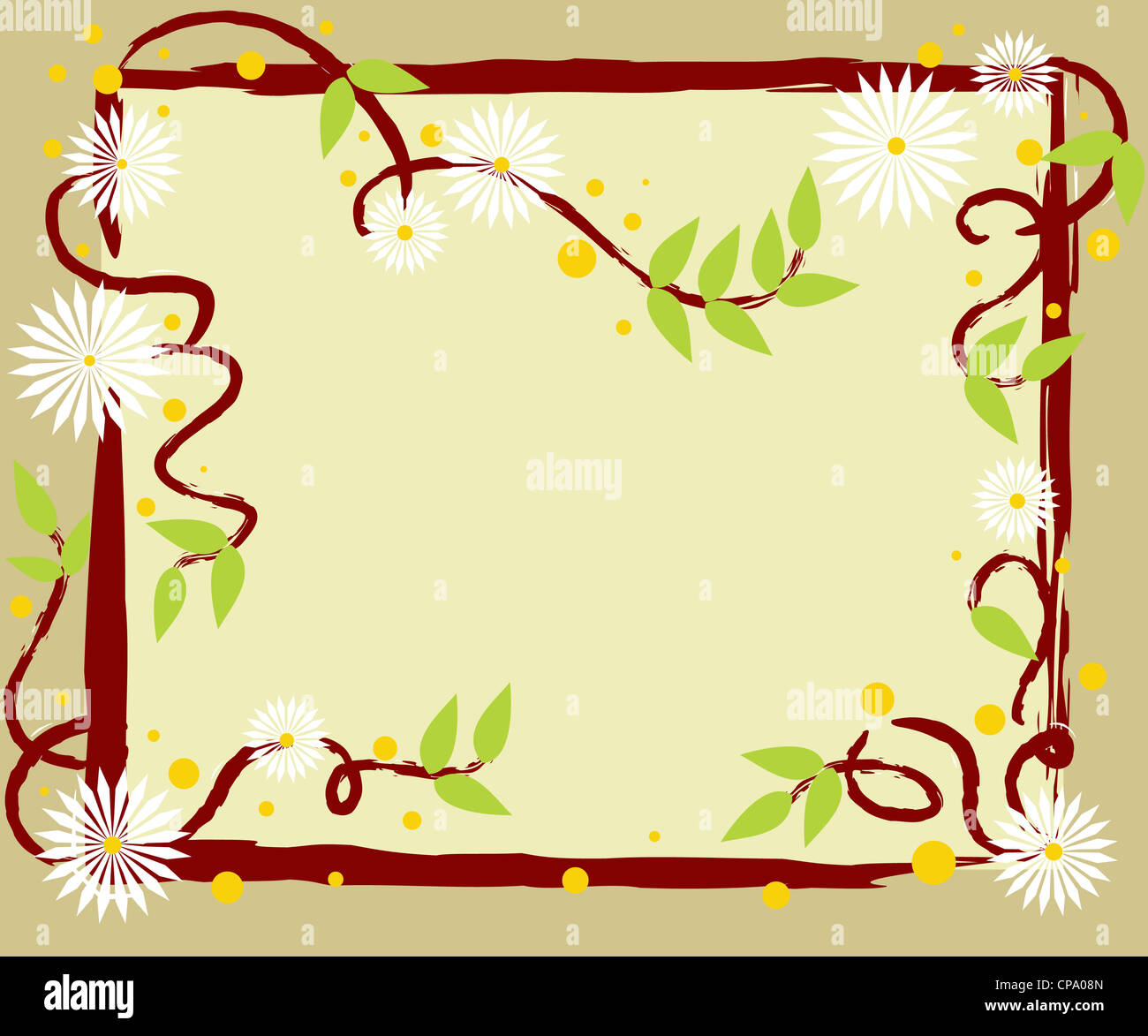 White flowers with green leaves nature frame with copy space Stock Photo