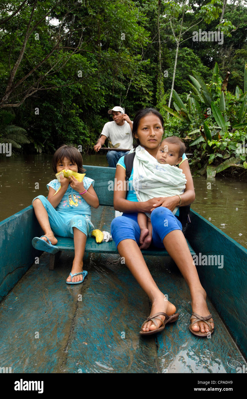 Quechua people indigenous tribe Amazon basin Ecuador South America - Stock Image