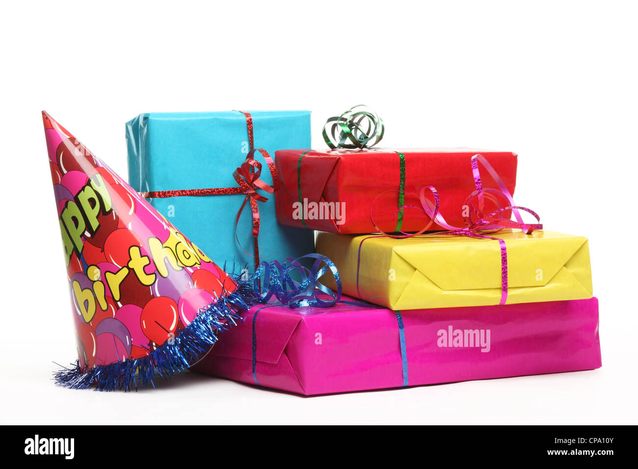Birthday gift isolated on white - Stock Image