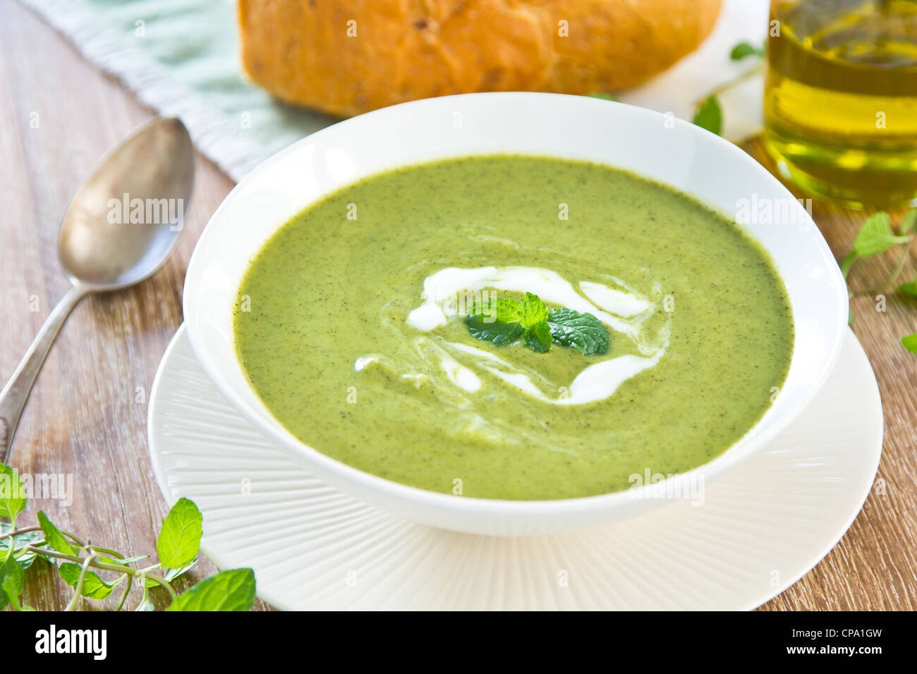 Green Pea,Mint and Celery soup - Stock Image