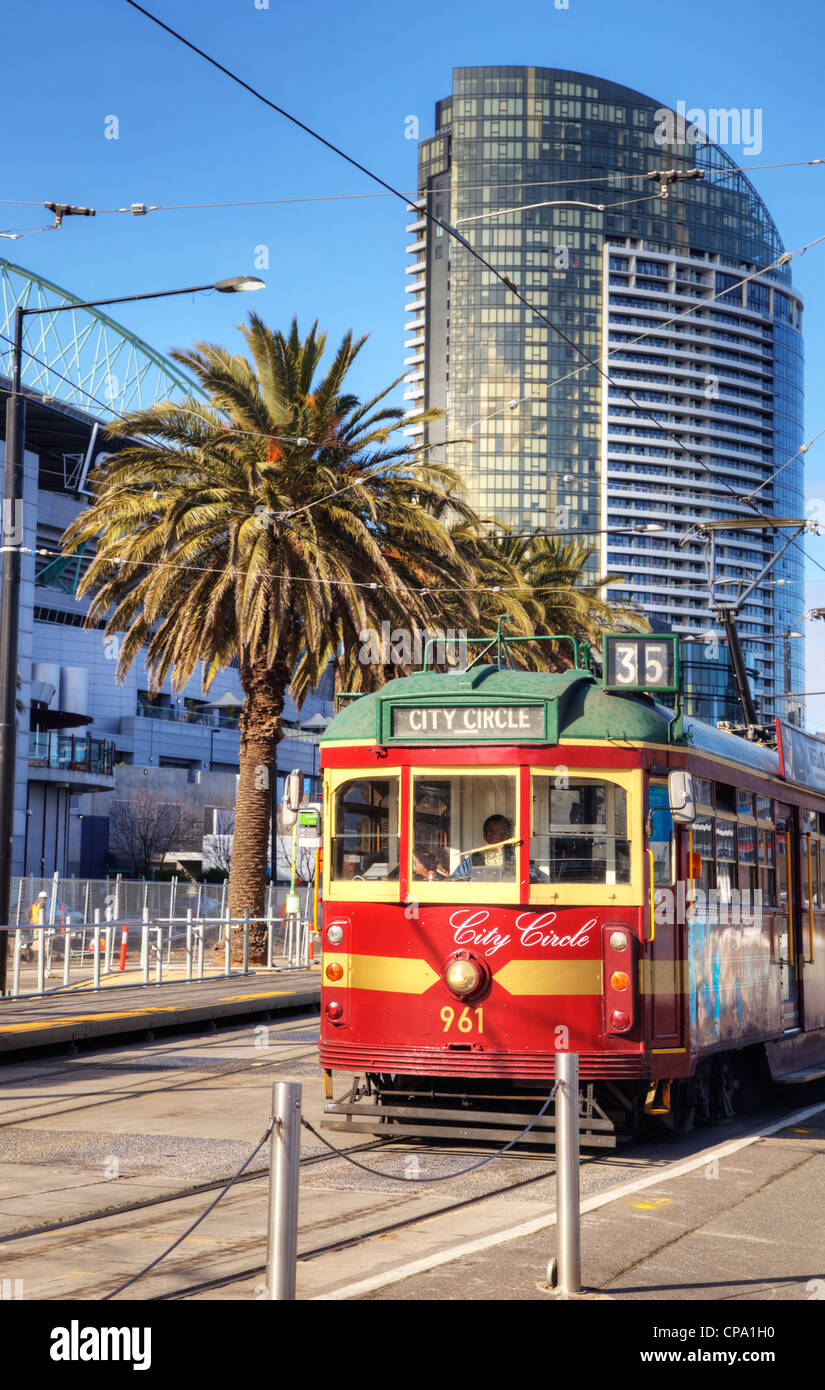 The City Circle Tram, a free ride around the city of Melbourne. - Stock Image