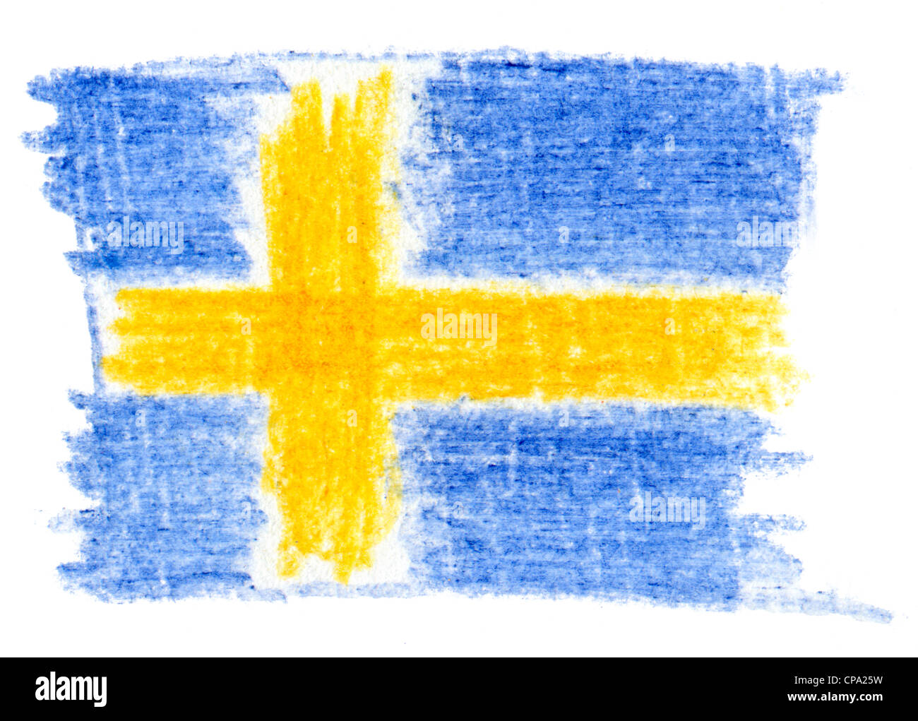 Flag of Sweden, pencil drawing - Stock Image