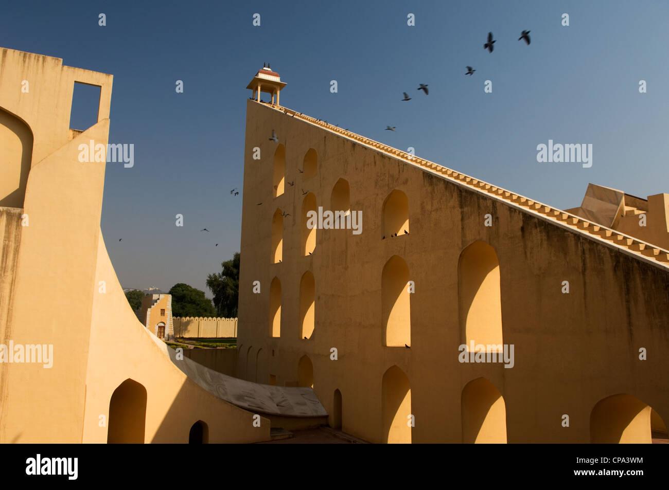 Jantar Mantar, the old (17th century) observatory of Jai Singh, Jaipur, Rajasthan, India - Stock Image