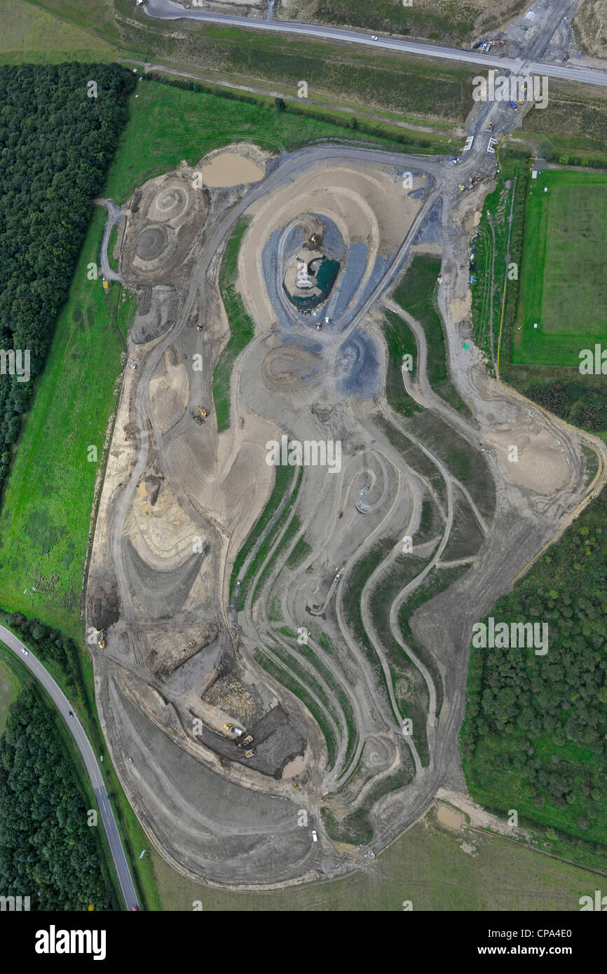 Aerial Image showing Goddess of the North in construction - Stock Image