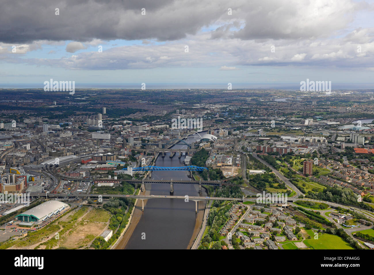 Aerial View of Newcastle and Gateshead - Stock Image