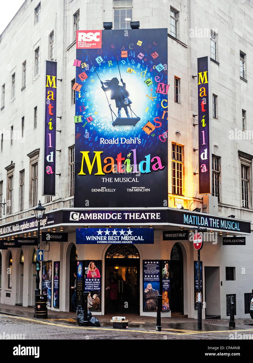 The musical Matilda at the Cambridge Theatre, Earlham Street, London. England. - Stock Image