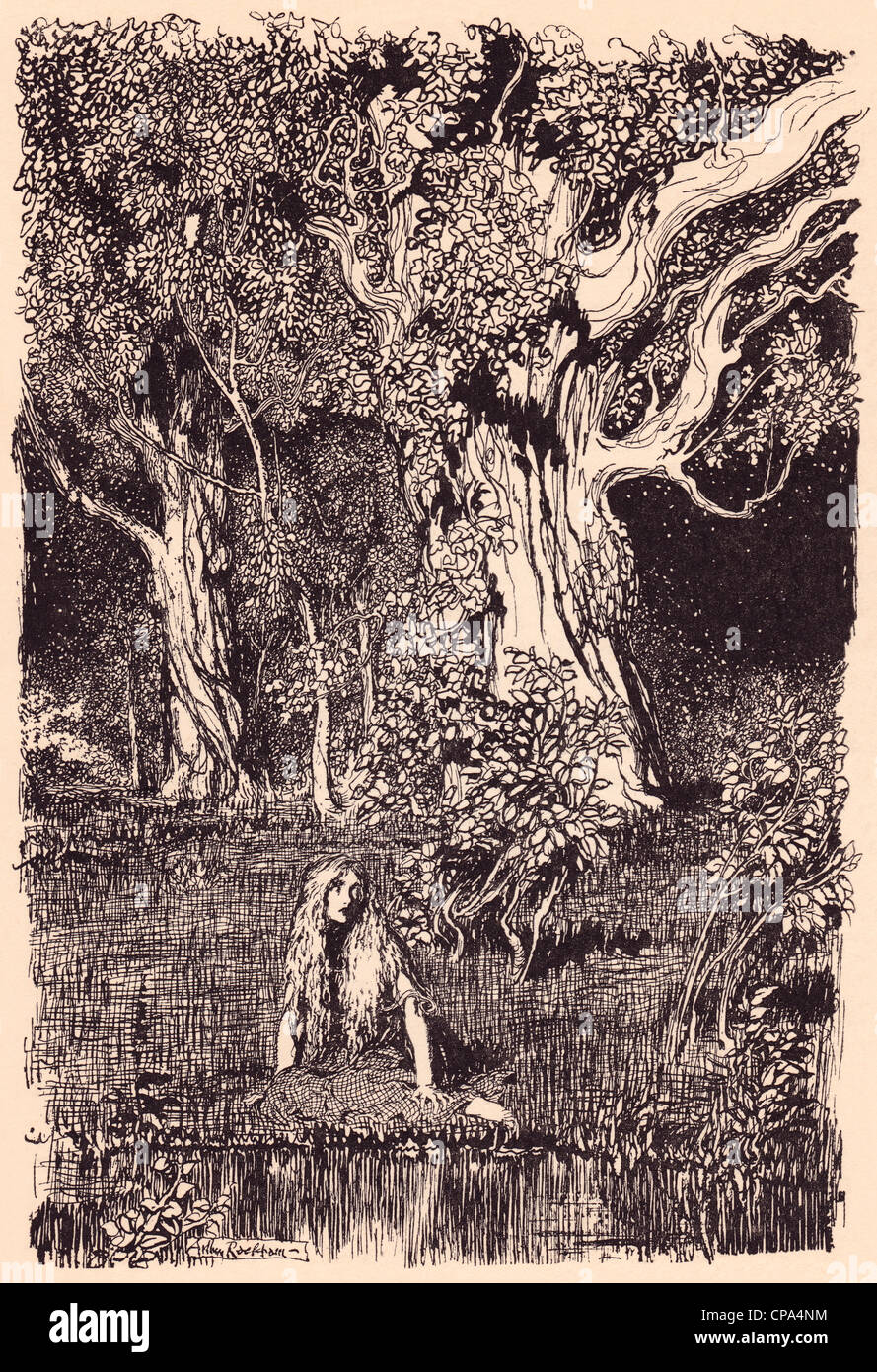 Illustration by Arthur Rackham from Grimm's Fairy Tale The Goose Girl at the Well. - Stock Image