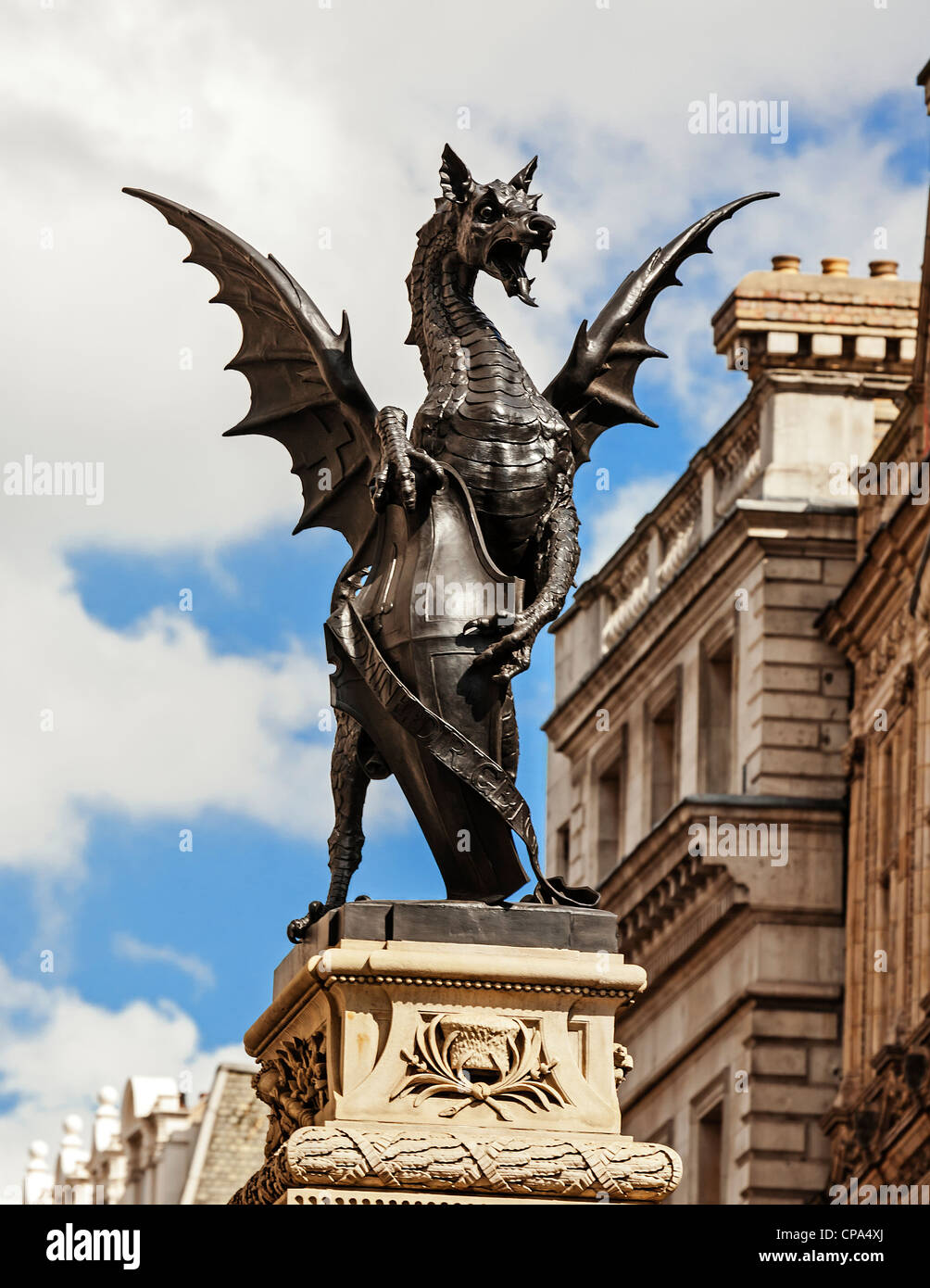 Dragon or Griffin atop the Temple Bar monument at the boundary between Westminster and the City of London, England. - Stock Image