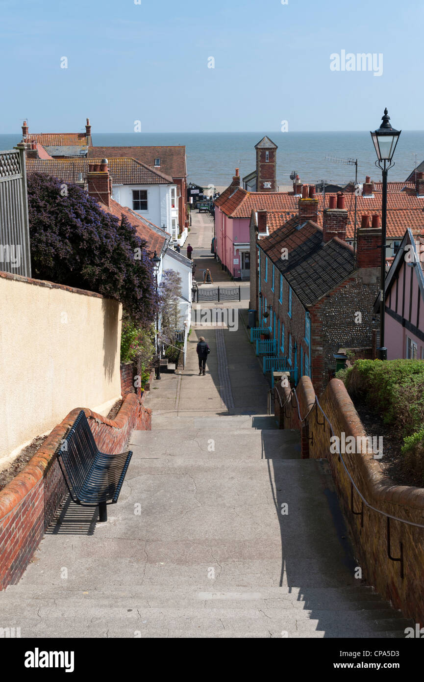 The Town Steps Aldeburgh Suffolk UK looking towards the sea - Stock Image