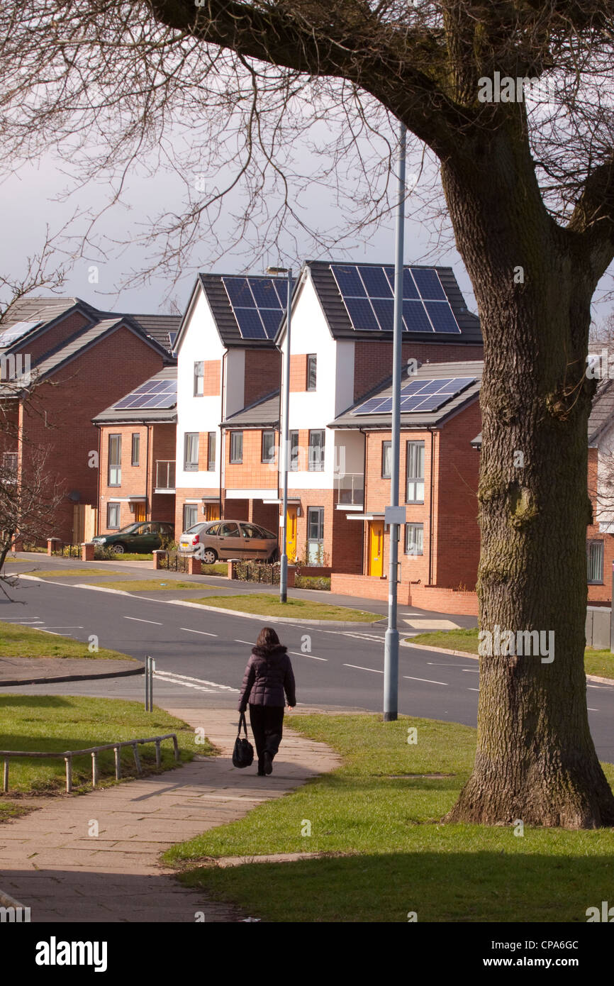 New housing with Photovoltaic systems on roof, Birmingham, England, UK - Stock Image