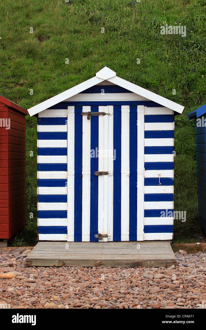 Blue and white beach hut at Exmouth UK - Stock Image