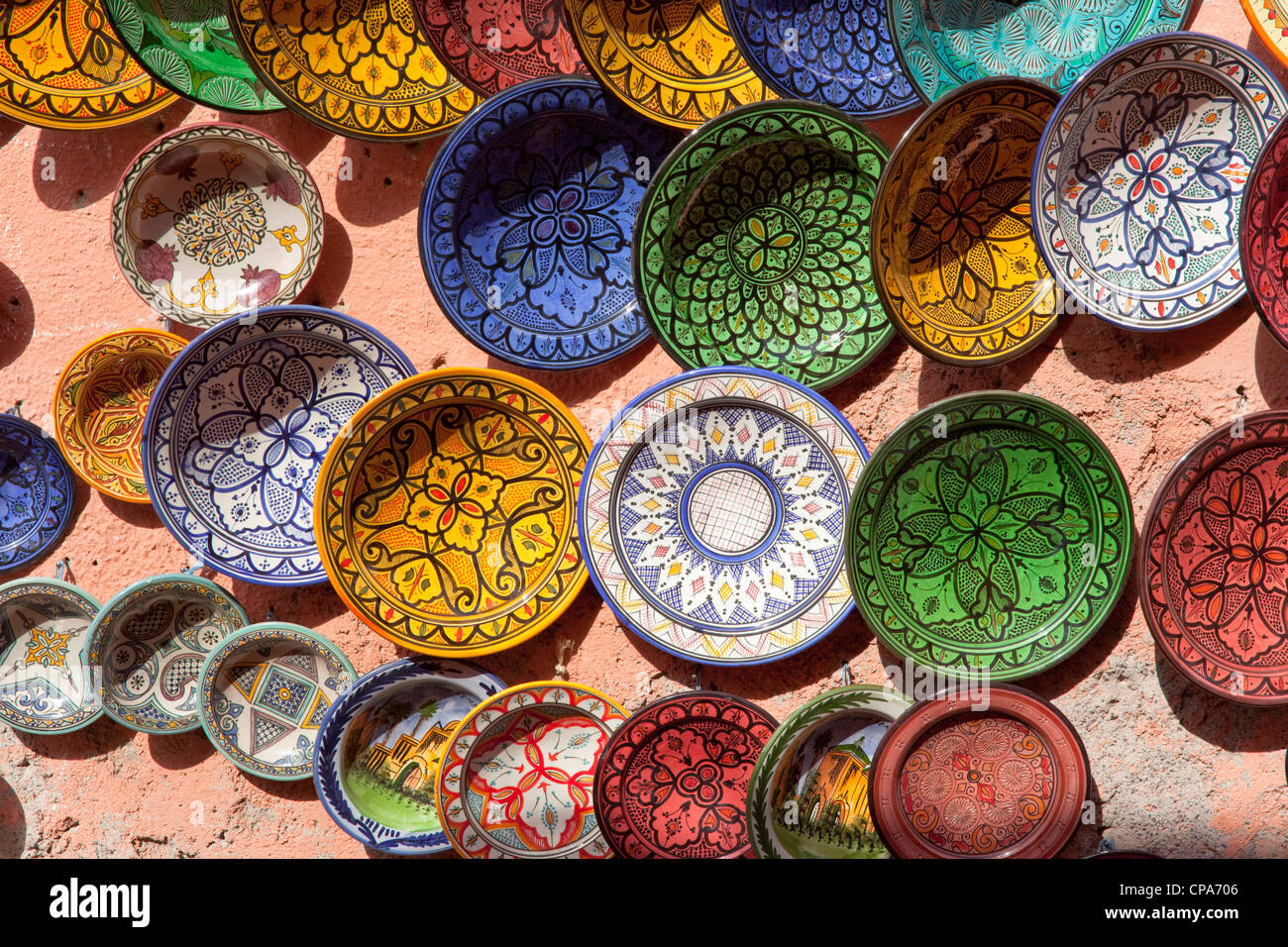 Selection Of Colourful Moroccan Plates On A Wall In Marrakech Stock Photo Alamy