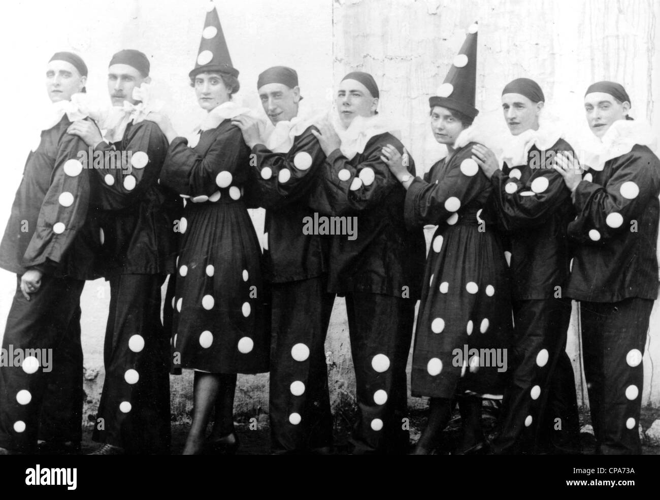 PIERROT clown group at a seaside show about 1935 - Stock Image