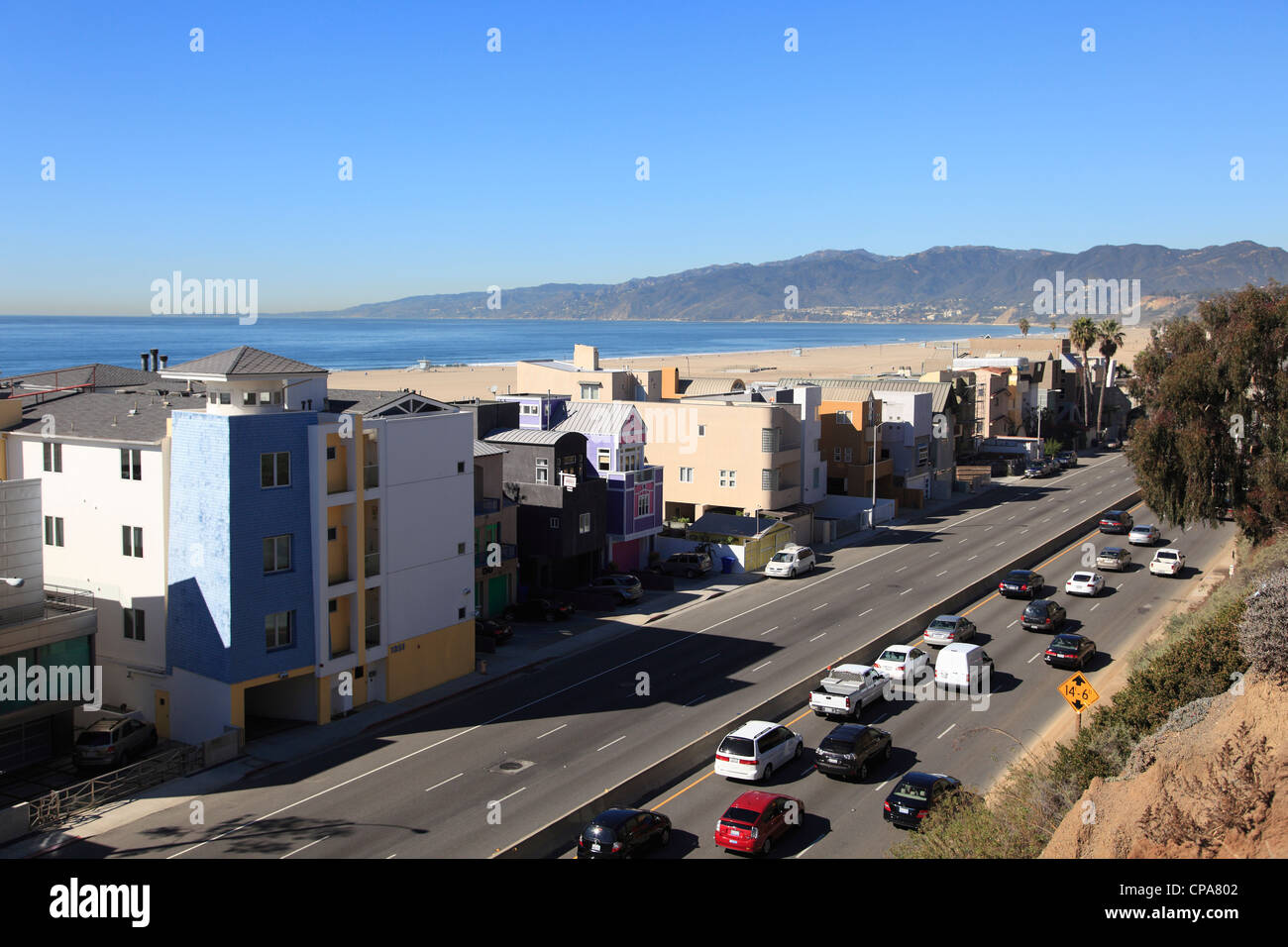 Traffic Pacific Coast Highway PCH Santa Monica Los Angeles California USA - Stock Image