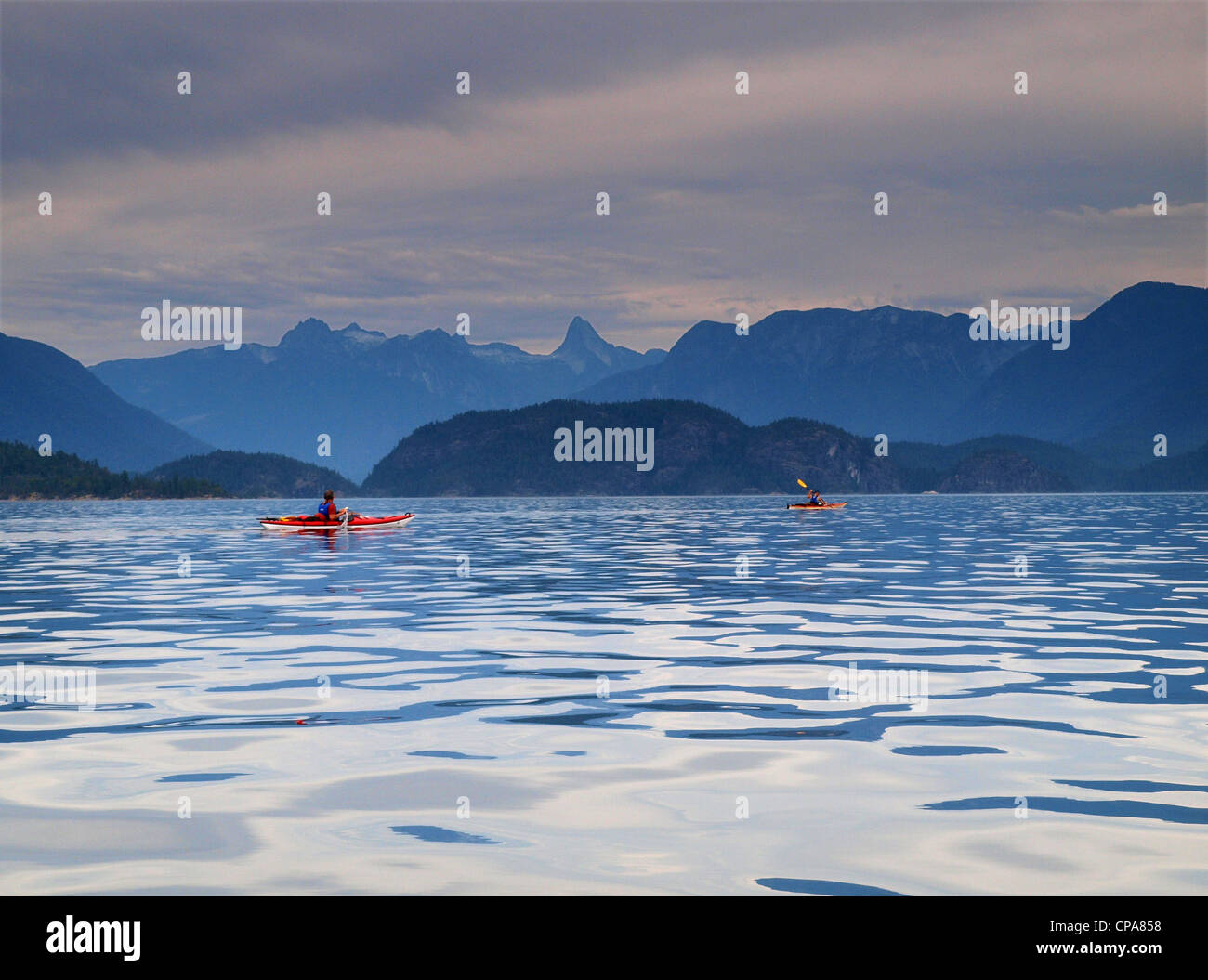 Sea kayaking in Desolation Sound, British Columbia - Stock Image