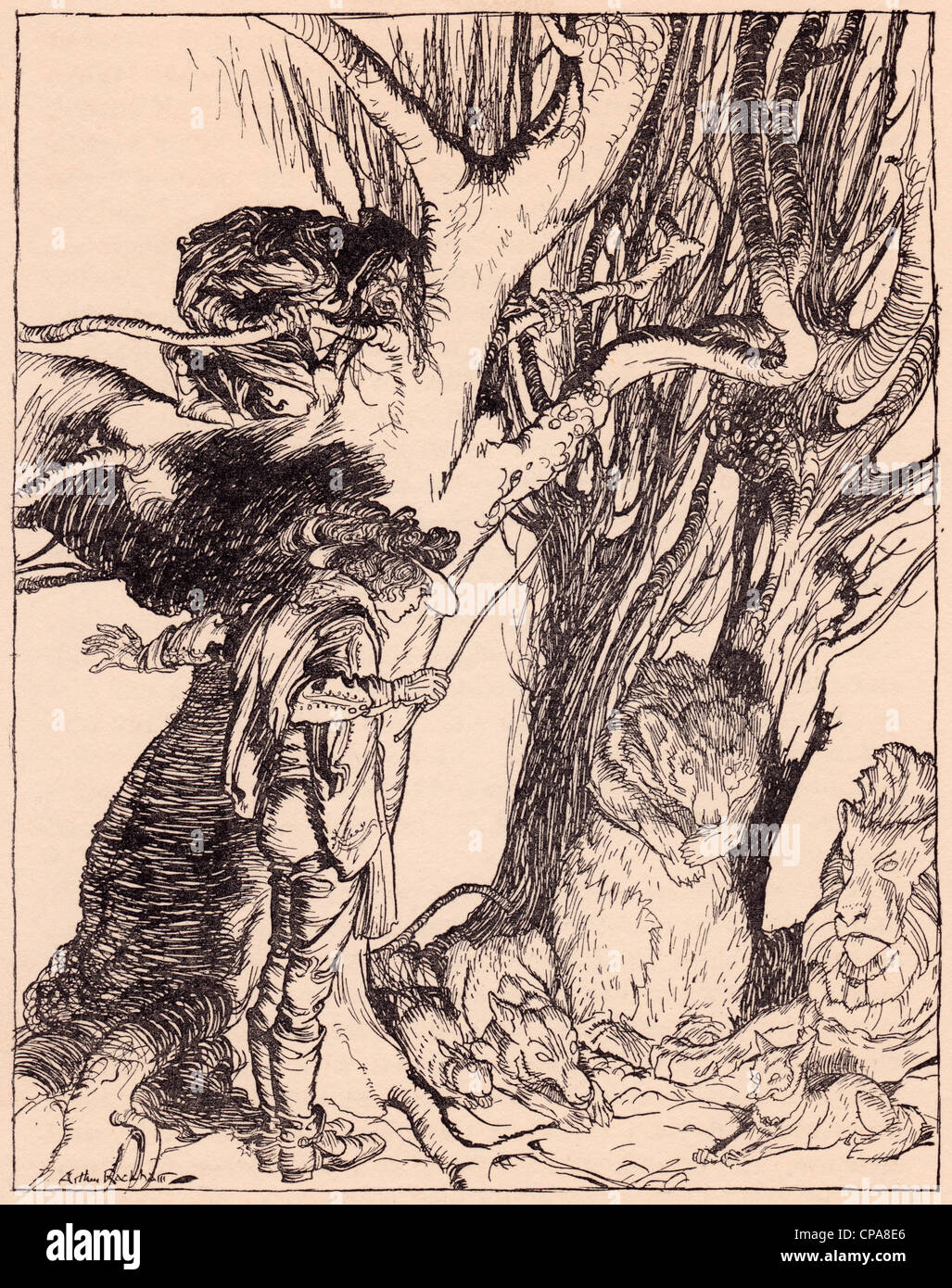 Instantly they lay still all turned into stone. Illustration by Arthur Rackham from Grimm's Fairy Tale, The - Stock Image