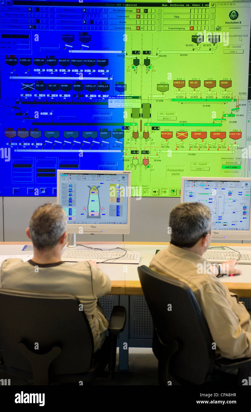 Employees in the control center of the blast furnace 8, Duisburg, Germany - Stock Image