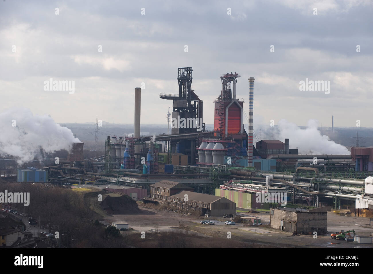 The smeltery of the ThyssenKrupp Steel AG, blast furnace 8, Duisburg, Germany - Stock Image