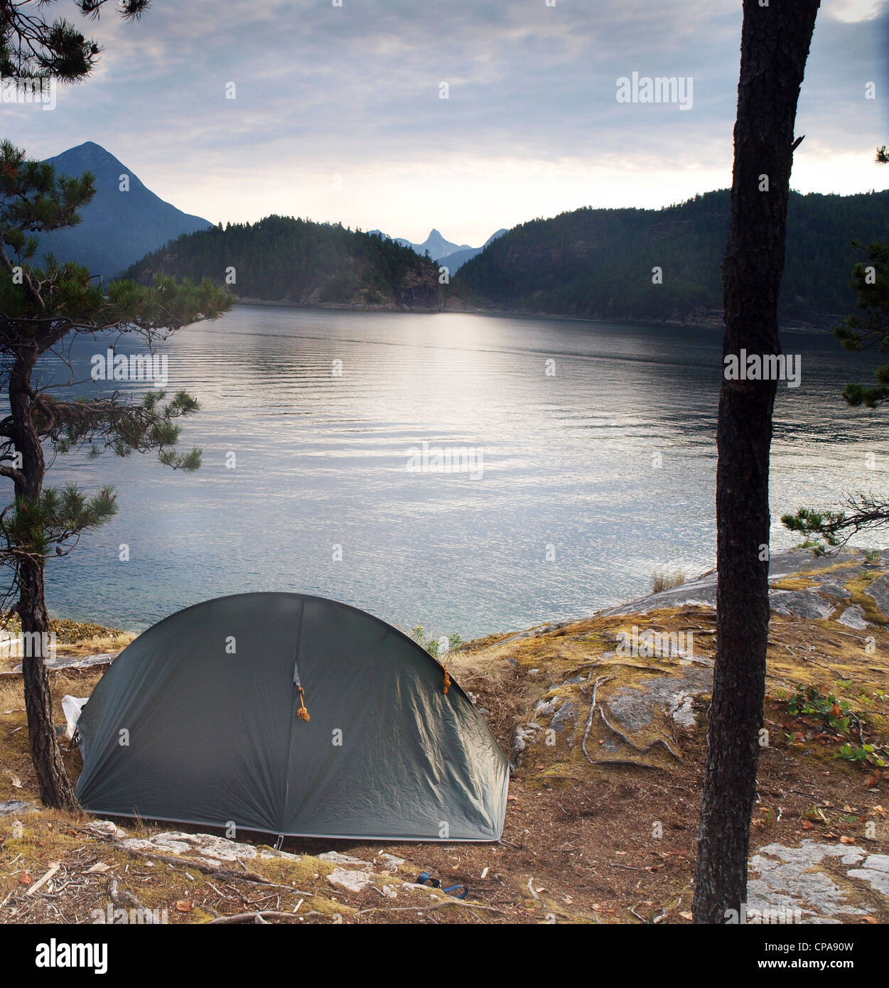 A tent pitched on one of The Curme Islands in Desolation Sound, British Columbia, Canada - Stock Image