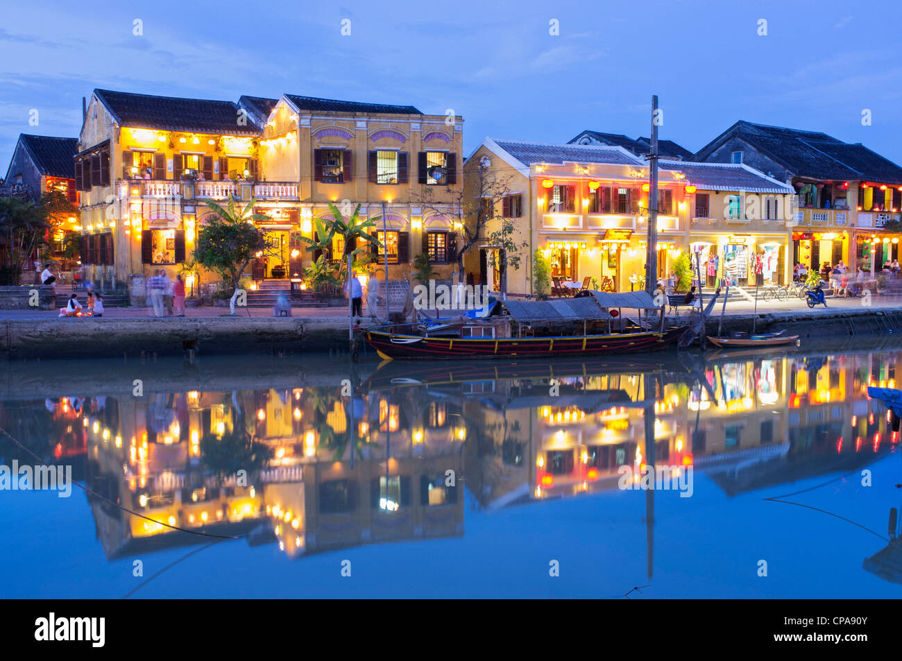 Dusk view of UNESCO world heritage town of Hoian in Vietnam - Stock Image