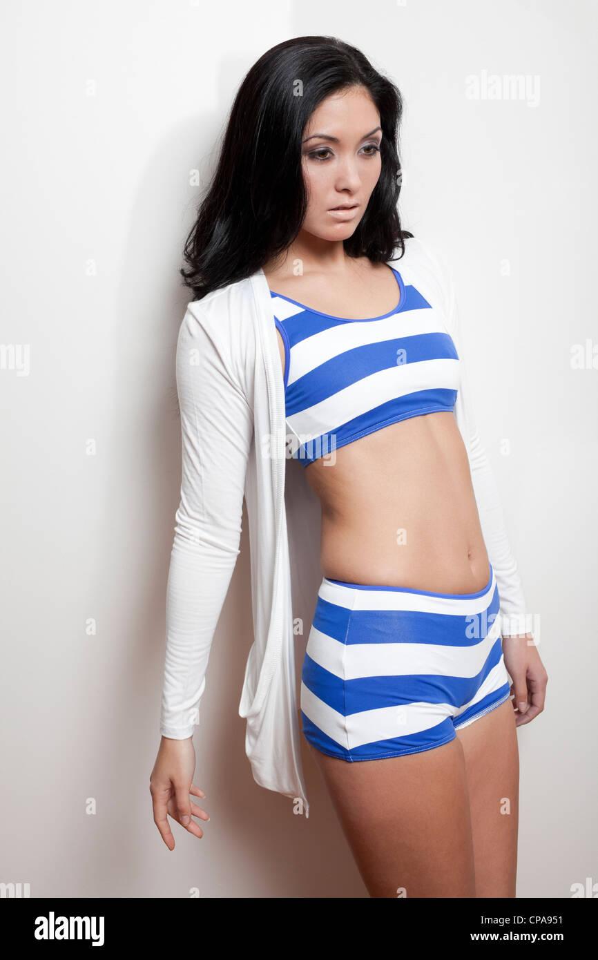 Fashion model wearing a bikini - Stock Image