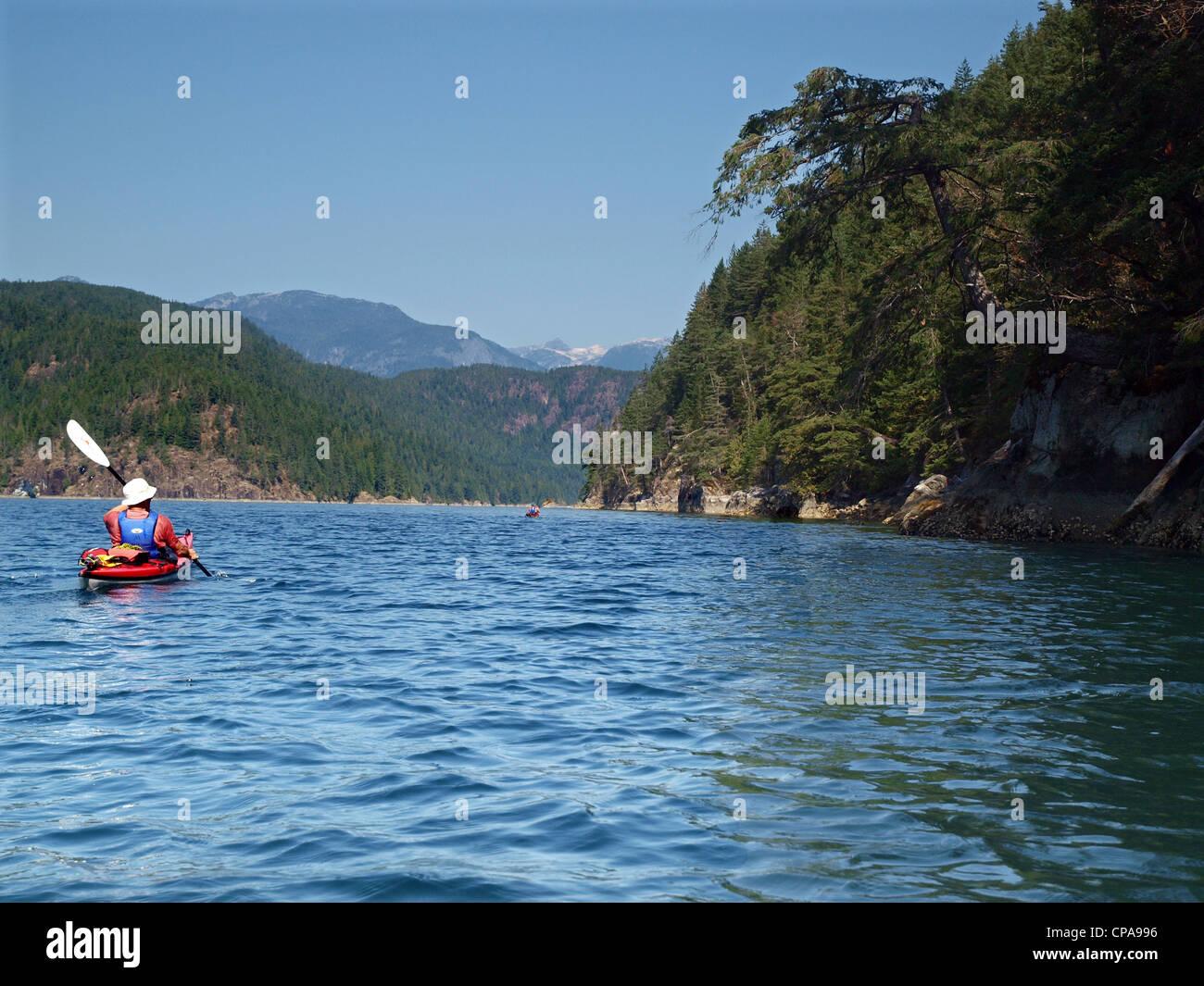 Sea kayaking in Desolation Sound, British Columbia - Stock Image