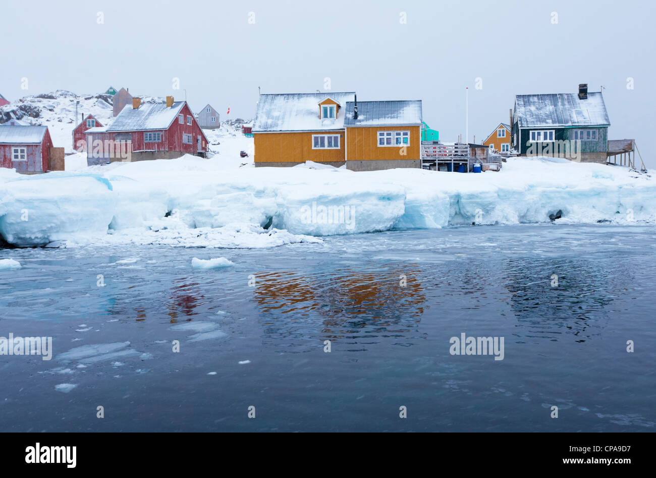 Inuit village of Kulusuk, Greenland - Stock Image