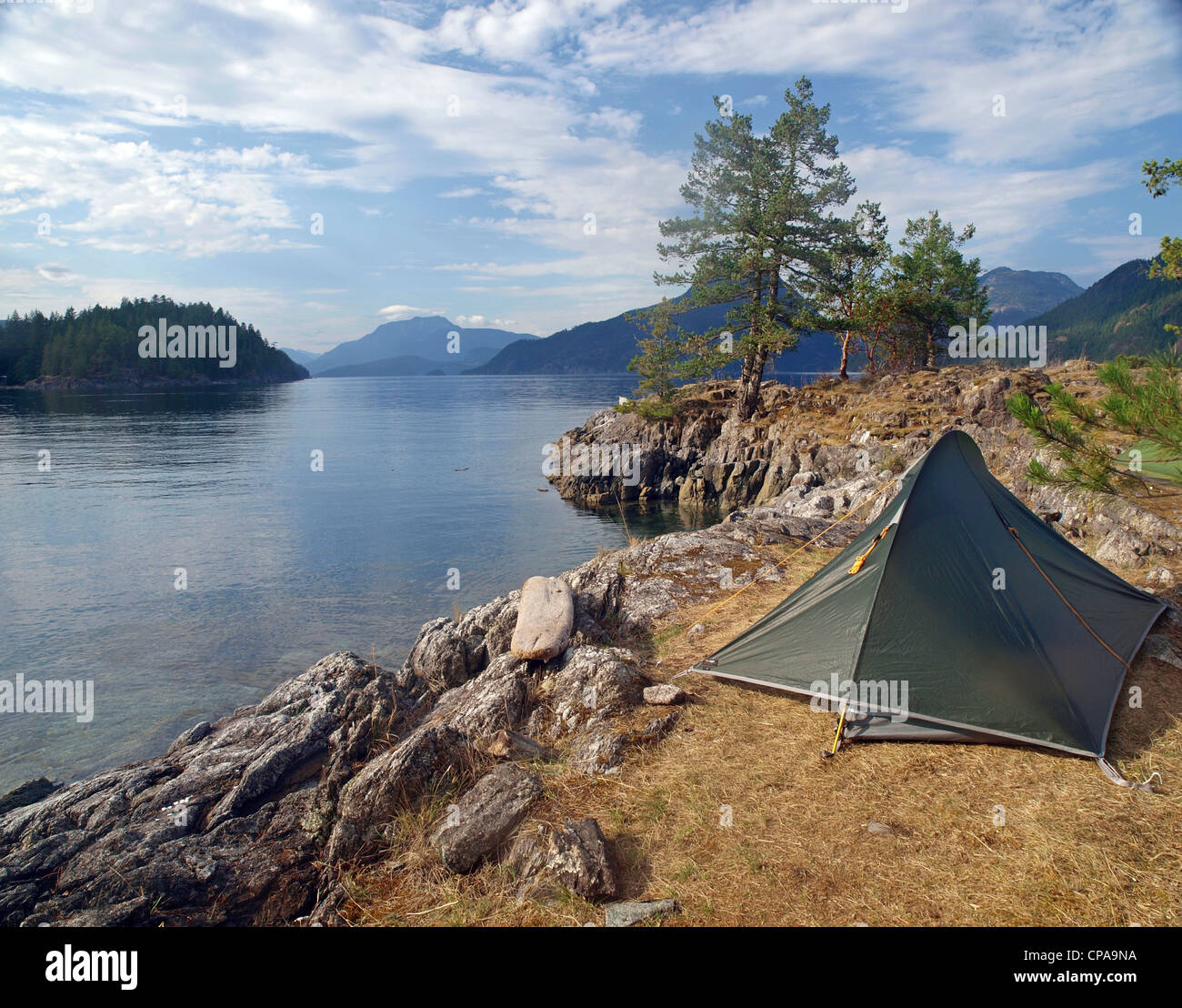 sea kayaker's campsite in British Columbia, Canada - Stock Image