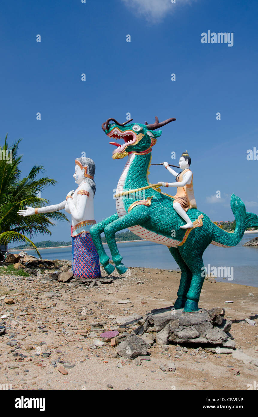 Thailand, Island of Ko Samui (aka Koh Samui), Fan Island. Giant statue of mythical creatures along the coast of - Stock Image