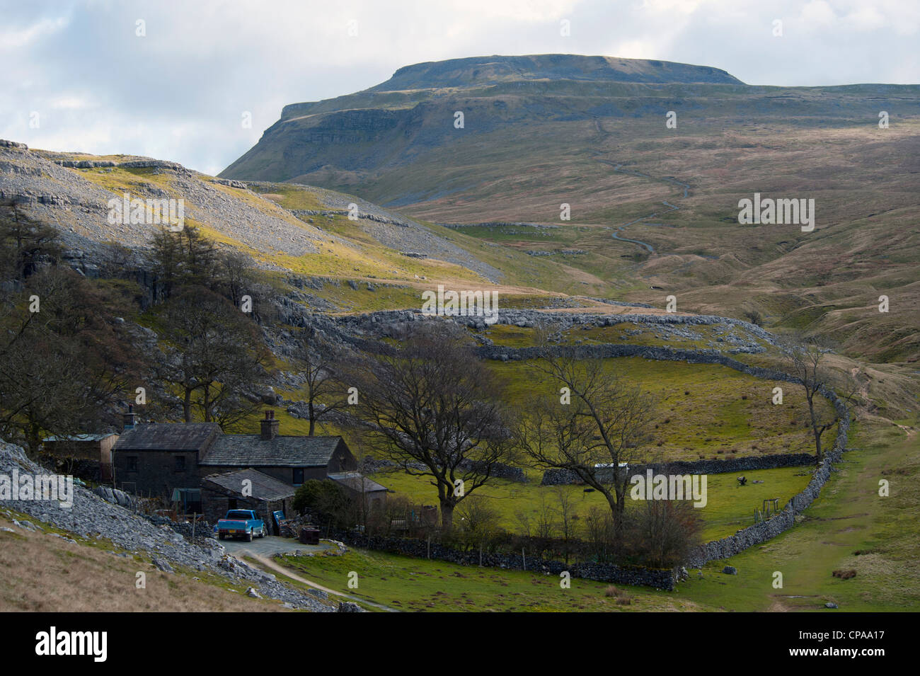 Ingleborough from Crina Bottom. Ingleton, Yorkshire Dales National Park, North Yorkshire, England, United Kingdom, Stock Photo