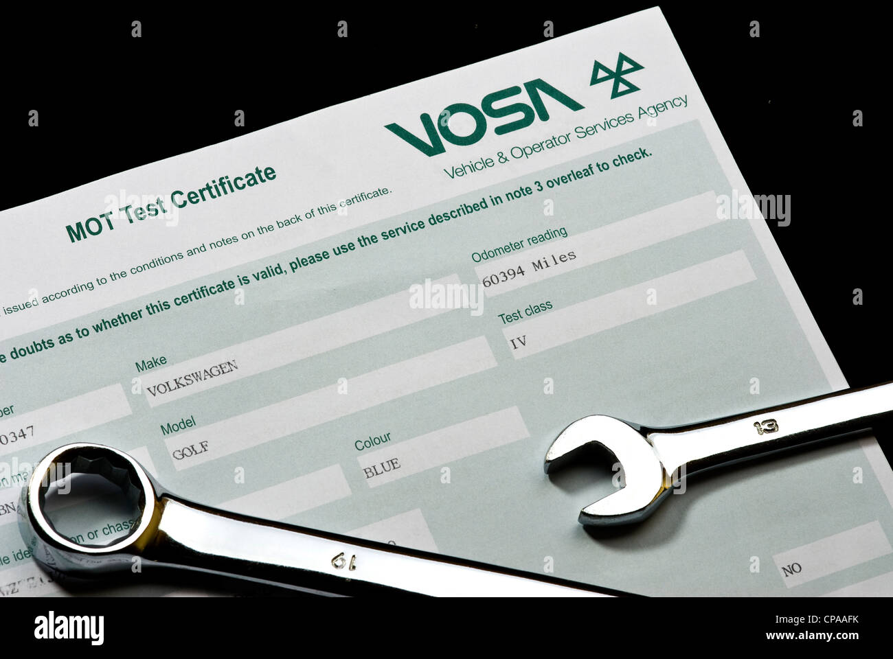 Mot certificate with two spanners.Vehicle test. - Stock Image