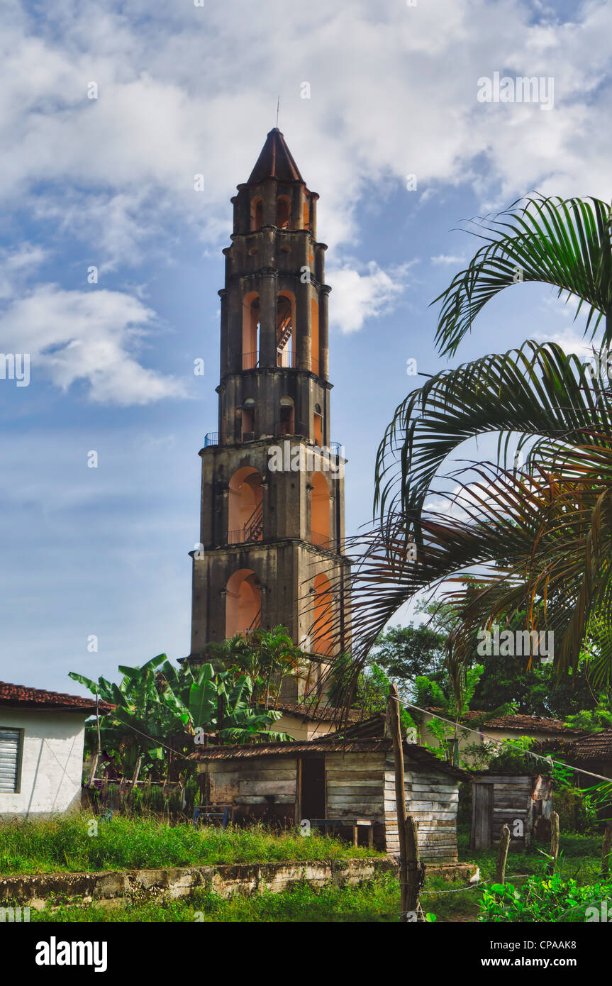 Valley de los ingenios view of the tower in trinidad, cuba - Stock Image