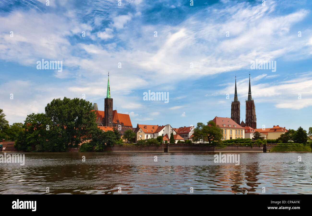 Cathedral church in Wrocław, Poland, view from the Katedralna Street - Stock Image