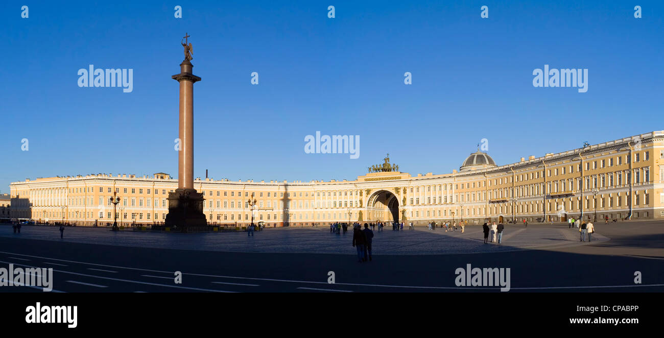 Dvorcovaya square in Saint Petersburg, Winter Palace of Russian emperor, Alexander's pillar - Stock Image