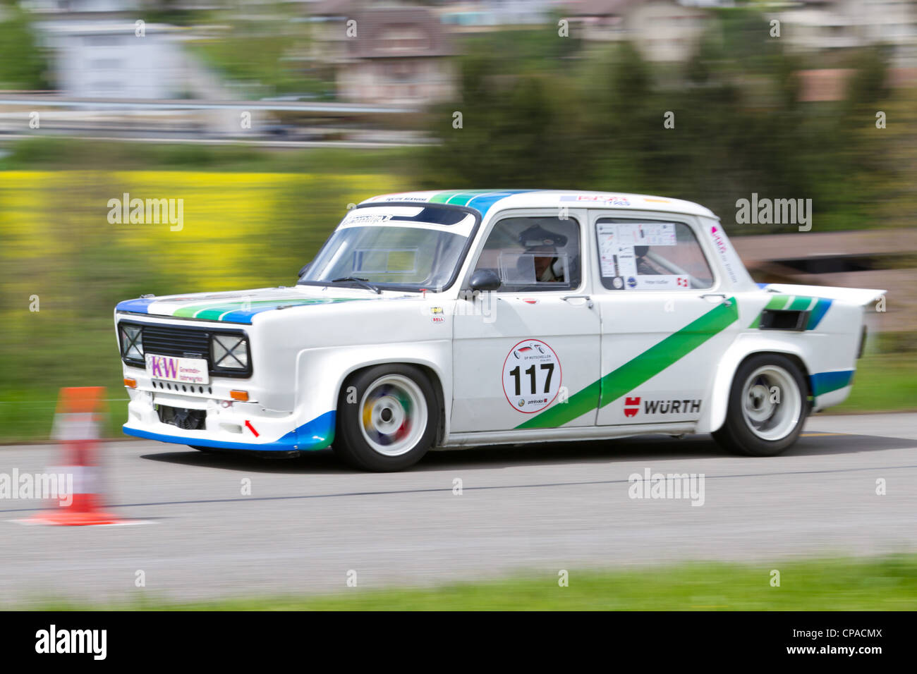 Vintage race touring car Simca Rallye 3 from 1976 at Grand Prix in Mutschellen, SUI on April 29, 2012. - Stock Image