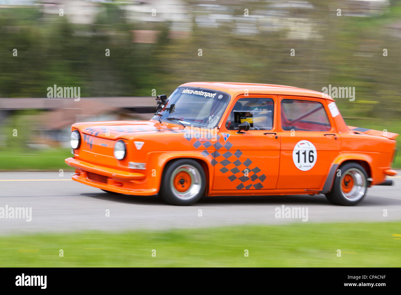 : Vintage race touring car Simca Rallye 2 from 1975 at Grand Prix in Mutschellen, SUI on April 29, 2012 - Stock Image