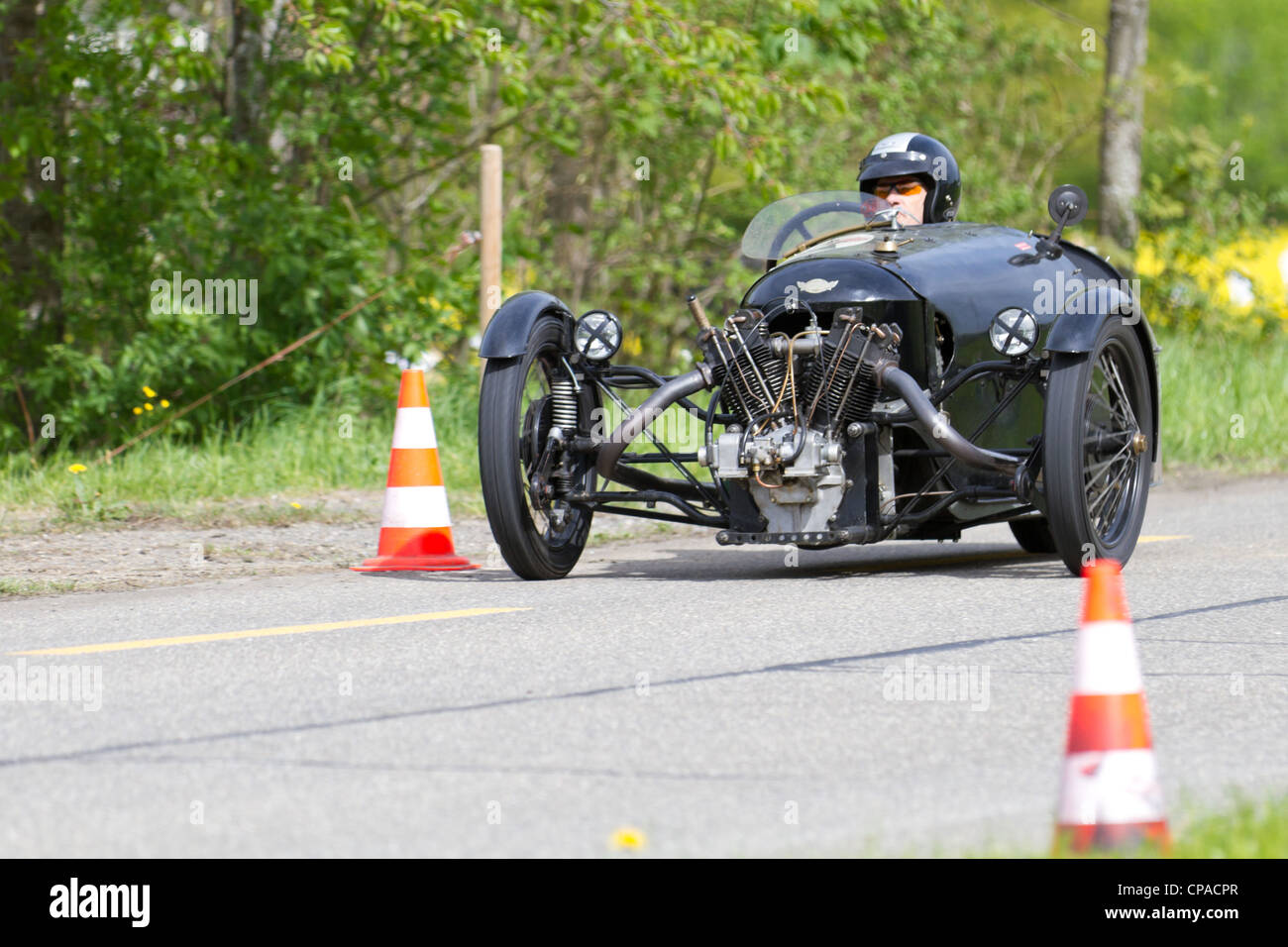 Vintage tricycle race car Morgan Aero SS Three Wheeler from 1929 at Grand Prix in Mutschellen, SUI on April 29, - Stock Image