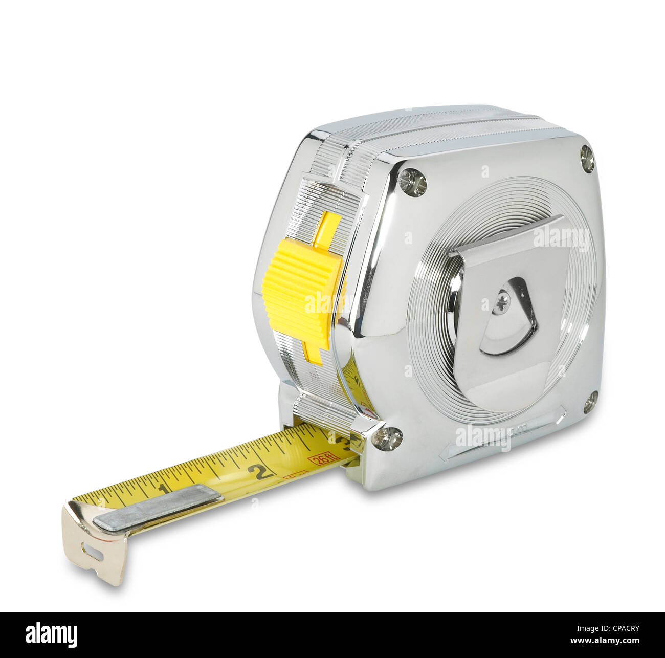 a chrome silver retro tape measure on white with clipping path - Stock Image