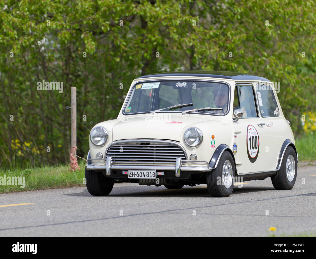Vintage race touring car Morris Mini Cooper S from 1969 at Grand Prix in Mutschellen, SUI on April 29, 2012. - Stock Image